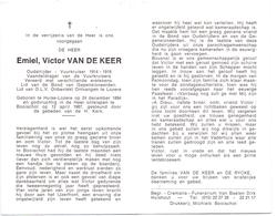Devotie Doodsprentje Overlijden - Oudstrijder Emiel Van De Keer - Huise Lozere 1894 - Booischot 1987 - Décès