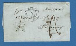 BOUCHES DU RHONE MARSEILLE  ACHEMINEUR 1843 écrite à NAPLES - Posta Marittima