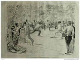 Paris - L'éscrime à Élysée - Page Original 1882 - Documents Historiques