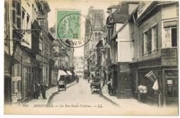 Abbeville 160 - La Rue Saint-Vulfran - LL - Animée - Café - Serrurerie - Charrette - Circulé 1922 - DUCATEL - Abbeville