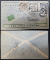 G)1937 PERU, AIRPORT OF LIMATAMBO, MAP OF AVIATION LINES, AIRMAIL COMERCIAL COVER TO SAN FRANCISCO, XF - Peru