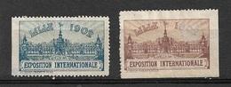 France Exposition Internationale De Lille    1902     2Vignettes   Neuf (* ) B/  TB  Soldé Le Moins Cher Du Site ! ! ! - Tourisme (Vignettes)