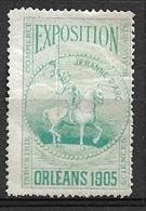 France Exposition  Orléans     1905     Vignette  Jeanne D' Arc    Neuf (* ) B/  TB  Soldé Le Moins Cher Du Site ! ! ! - Tourisme (Vignettes)