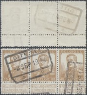 "Pellens - N°113 En Bande De 3 + Cachet Chemin De Fer ""Gits N°1"" / Guerre 14-18, Territoire Non Envahi - 1912 Pellens"