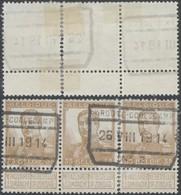 """Pellens - N°113 En Bande De 3 + Cachet Chemin De Fer """"Ardoye-Coolscamp"""" 26/8/1914 / Guerre 14-18, Territoire Non Envahi - 1912 Pellens"""