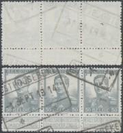 "Pellens - N°115 En Bande De 3 + Cachet Chemin De Fer ""Oostroosebeke"" / Guerre 14-18, Territoire Non Envahi - 1912 Pellens"