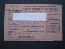 CARTE - LICENCE 1951 : SPORT SCOLAIRE ET UNIVERSITAIRE / LYCEE De HYERES ( VAR ) - Sports