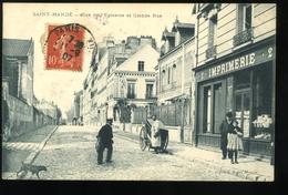 94 Val De Marne Saint Mandé Rue De L'Epinette Et Grande Rue Giraud Imprimerie Animée 1907 - Saint Mande