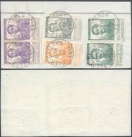 """Pellens - N°115, 116, 117x2 Et 121x2 Sur Fragment De Borderau Obl Simple Cercle """"Neer-Oeteren"""" (1914) - 1912 Pellens"""