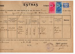 1932 ROMANIA, CARANINI, CHURCH CERTIFICATE, 3 REVENUE STAMPS, AEROPLANE, COURT APPROVAL STAMP AT THE BACK - Covers & Documents