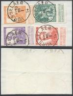 """Pellens - N°110, 116, 117 Et 123 Sur Fragment De Borderau Obl Simple Cercle """"Vorsselaer"""" - 1912 Pellens"""