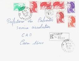 LIVAROT 14 Calvados Lettre Recommandée Liberté Gandon Yv 2178 2181 2182 2319 2276 Ob 21 10 1985 - Briefe U. Dokumente
