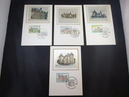"BELG.1985 2193 2194 2195 & 2196 FDC Mcards Soie/zijde : "" Châteaux / Kastelen "" - FDC"