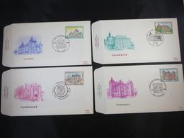 """BELG.1985 2193 2194 2195 & 2196 FDC's : """" Châteaux / Kastelen """" - FDC"""