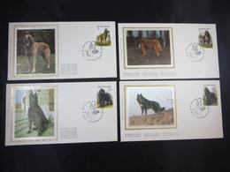 """BELG.1986 2213 2214 2215 & 2216 FDC's Soie/zijde: """" Honderassen / Races Canines Belges """" - FDC"""