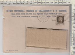 Storia Postale Pubblicitaria Lecce 1937 Uff. Prov. Fascista Di Collegamento E Di Gestione Corigliano D' Otranto - 1900-44 Victor Emmanuel III