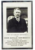 Achille VAN MARCKE - Heule 1872 - Kortrijk 1935 - Obituary Notices