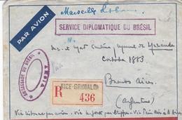 Enveloppe France Ambassade Brésil Vichy 1940 44 Vers Argentine Via Nice Lisbonne Usa Panair Recommandé - Cartas