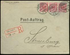 16259 DR 10 Pfg Ader 3er Streifen R - Brief Post Auftrag Düsseldorf - Strassburg Elsaß 1894 , Bedarfserhaltung. - Germany