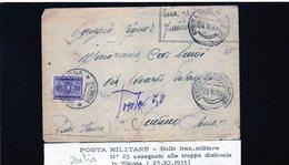 CG9 - Posta Militare - Bollo Di Franchigia N. 25 - Lettera X ,Induno Olona - Africa Oriental Italiana