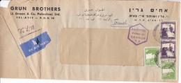 Enveloppe Palestine Tel Aviv Vers France 1945 -48  Censor - Palestine