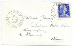 France Deux Sèvres Arçay Cachet B7 Du 09/08/1958 Sur N° 1011B Y. Et T. - Manual Postmarks