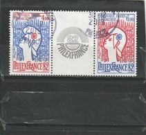 France Oblitéré  1982  N° 2216/2217  Philexfrance'82. Avec Vignette Intermédiaire, Issu Du Bloc 8 - Oblitérés