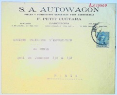 SPAIN 1922 - RE ALFONSO XIII° - S.A. AUTOWAGON - Cartas