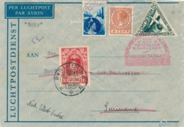 Nederland / Suriname - 1934 - 4 Zegels Op SNIP-vlucht Van Scheveningen-Gentschestraat Naar Paramaribo En Terug - Luftpost