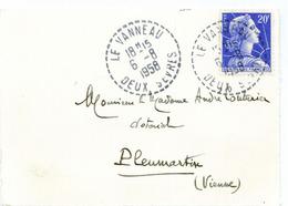France Deux Sèvres Le Vanneau Cachet B7 Du 06/08/1958 Sur N° 1011B Y. Et T. - Manual Postmarks