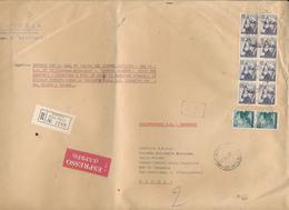 1966 MICHELANGIOLESCA RACCOMANDATA ESPRESSO 14 PORTI CON BLOCCO DI 8 100 LIRE + COPPIA 20 LIRE - 6. 1946-.. Repubblica
