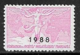 Vignettes Fédération Des Sociétés Philatéliques Françaises 1988 - ** - Erinnophilie