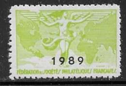 Vignettes Fédération Des Sociétés Philatéliques Françaises 1989 - ** - Erinnophilie