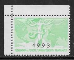 Vignettes Fédération Des Sociétés Philatéliques Françaises 1993 Coin De Feuille - (*) - Otros