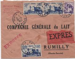 1955 - ENVELOPPE EXPRES De TUNIS (TUNISIE) Pour RUMILLY (HAUTE SAVOIE) - Covers & Documents