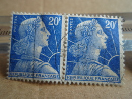 2 Timbres  Marianne De Muller 20 F Tellier 1011 B MONTDIDIER 1957 - 1955- Marianne De Muller