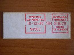 Vignette Distributeur  10.70 Champigny (93) - 1969 Montgeron – White Paper – Frama/Satas