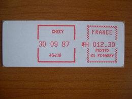 Vignette Distributeur  12.30 Checy (45) - 1969 Montgeron – White Paper – Frama/Satas