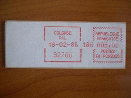 Vignette Distributeur  5.00 Colombes  (92) - 1969 Montgeron – White Paper – Frama/Satas