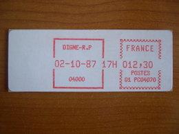 Vignette Distributeur  12.30 Digne  (04) - 1969 Montgeron – White Paper – Frama/Satas