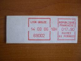 Vignette Distributeur  17.90 Lyon Grolée (69) - 1969 Montgeron – White Paper – Frama/Satas