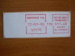 Vignette Distributeur  13.40 Montrouge (92) - 1969 Montgeron – White Paper – Frama/Satas