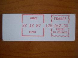 Vignette Distributeur  12.30 Orbec (14) - 1969 Montgeron – White Paper – Frama/Satas