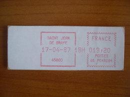 Vignette Distributeur  19.20 St Jean De Braye (45) - 1969 Montgeron – White Paper – Frama/Satas