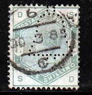 GRANDE BRETAGNE - N°85 Obl  (1883) 1s Vert - Perforation Cloche - - Used Stamps