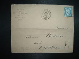 LETTRE TP CERES 25c OBL. GC + 10 AOUT 75 LYON LA GUILLOTIERE (69 RHONE) Me LA SELVE Avoué - 1849-1876: Classic Period