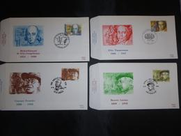 """BELG.1986 2225 2226 2227 & 2228 FDC's  : """" Belgische Figuren / Personnalités Belges """" - FDC"""