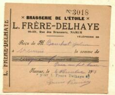 Reçu     BRASSERIE  De L'ETOILE  - L.FRERE - DELHAYE - 99-101 Rue Des Brasseurs à NAMUR   Le  4 Novembre 19 - Bélgica