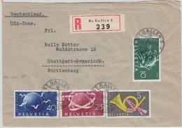 Schweiz - 75 J. UPU Satz U.a. Einschreibebrief St. Gallen - Stuttgart 1949 - U.P.U.