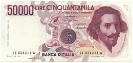 50000 LIRE GIAN LORENZO BERNINI I TIPO LETTERA E 06/03/1992 BB/SPL - [ 2] 1946-… : Repubblica